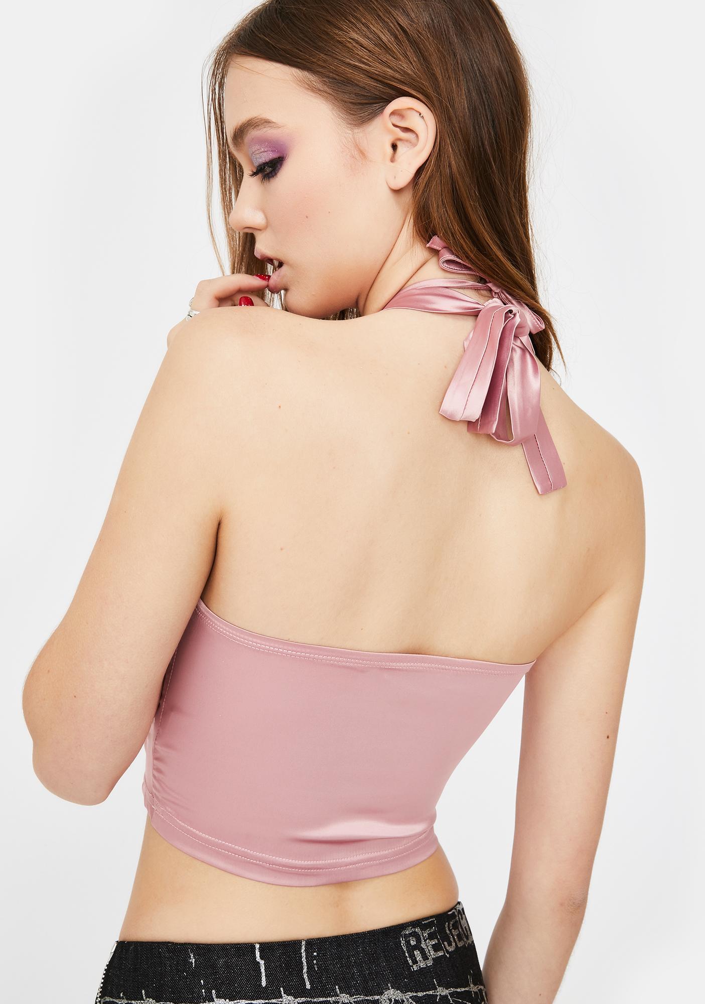 ZEMETA Pink Silk Halter Neck Crop Top