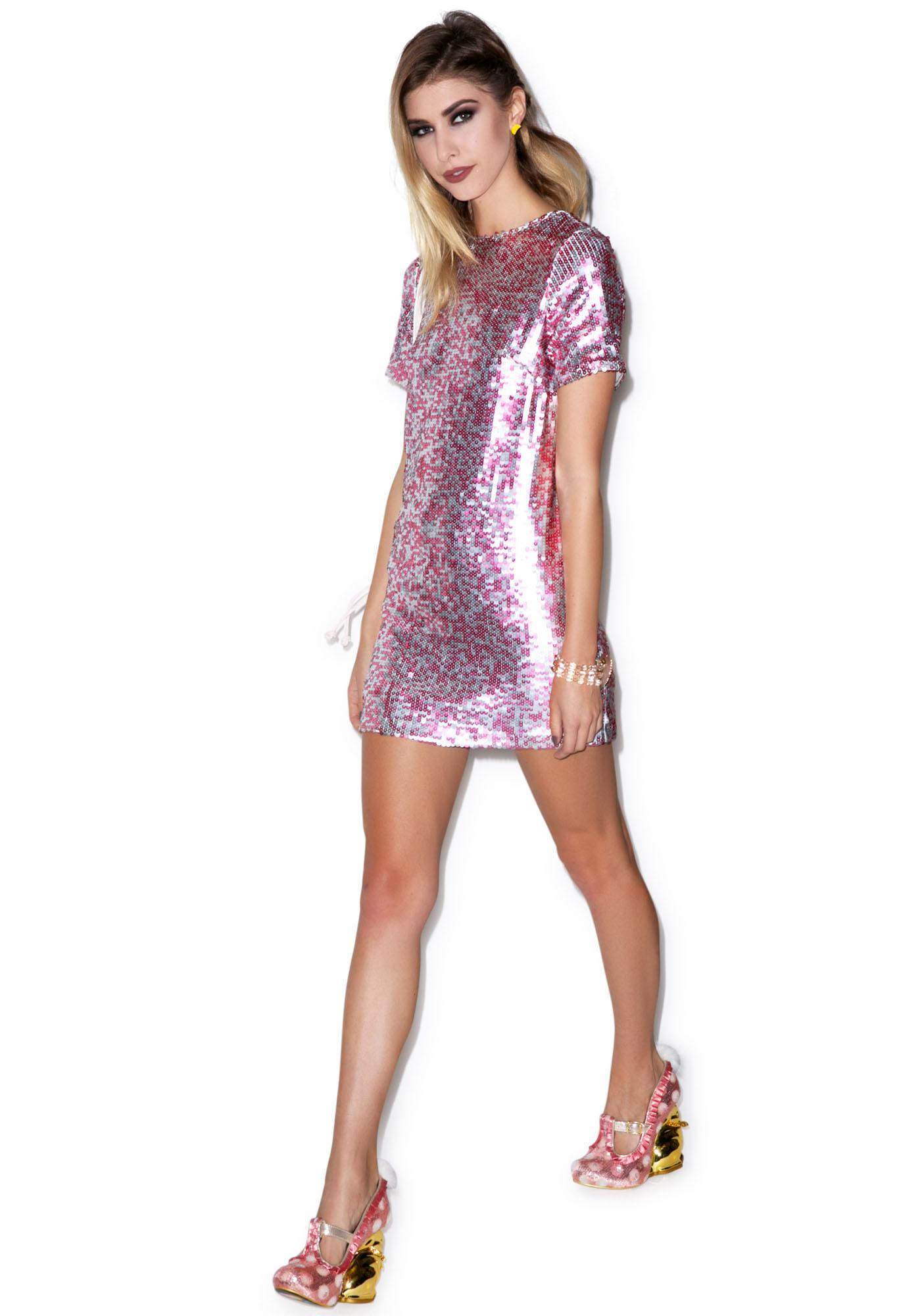 Motel Dewdrop Sequin Rows Dress