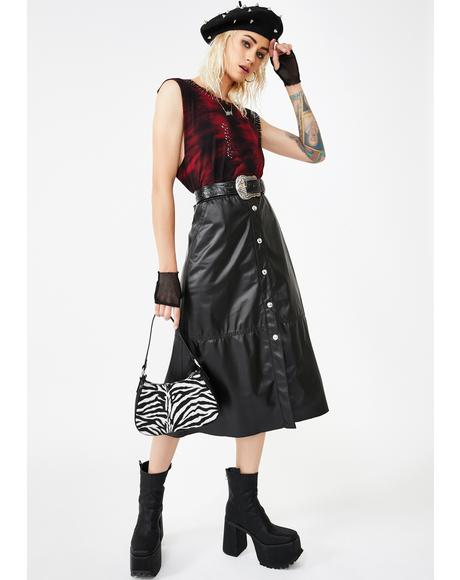 Onyx Leather Midi Skirt