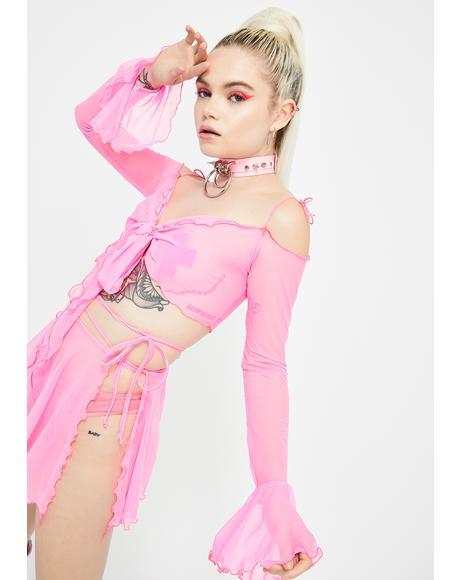 Pink Sass Mesh Wrap Top