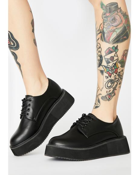Black Platform Oxford Sneakers
