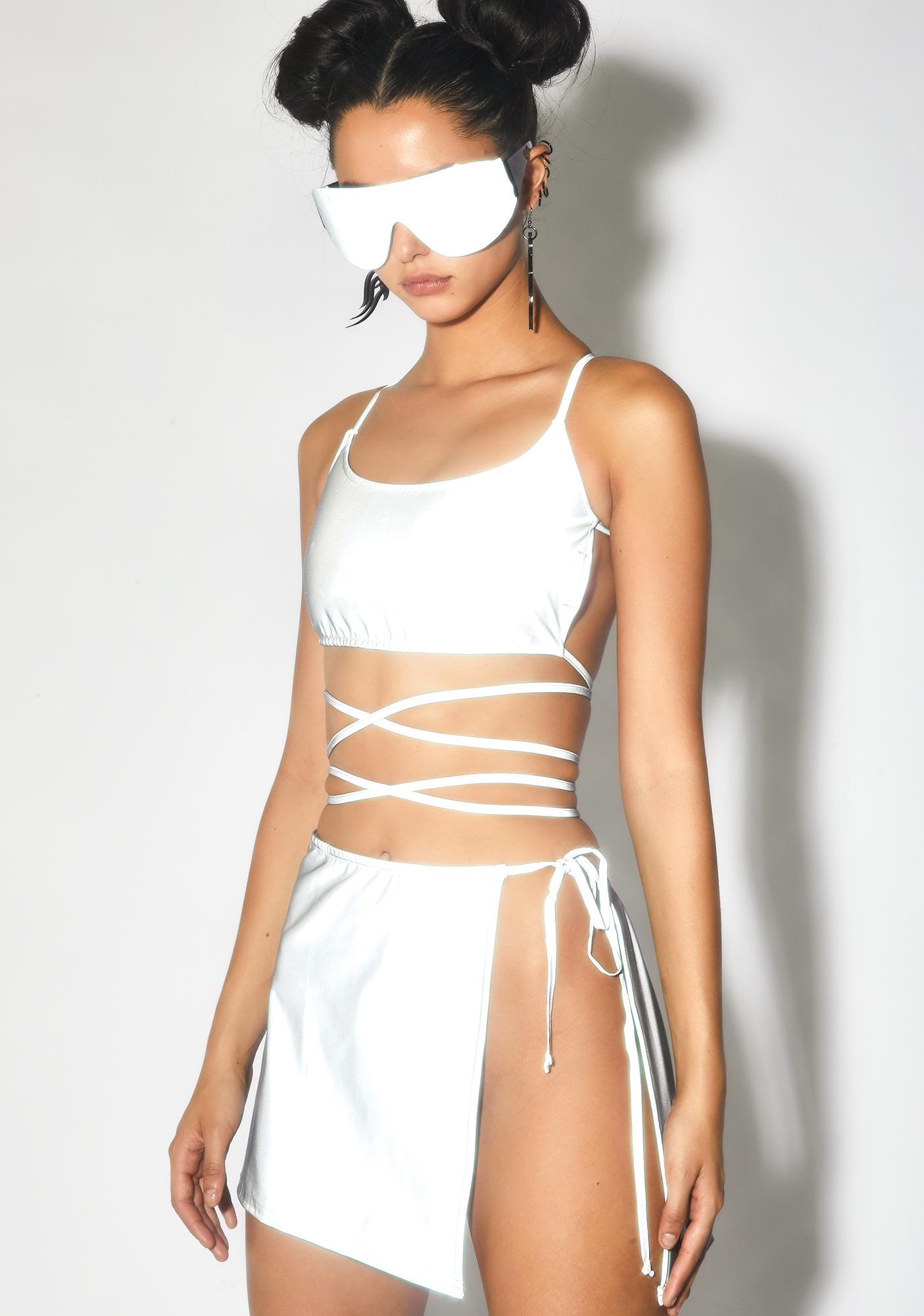 Club Exx Beta Breaker Reflective Wrap Skirt