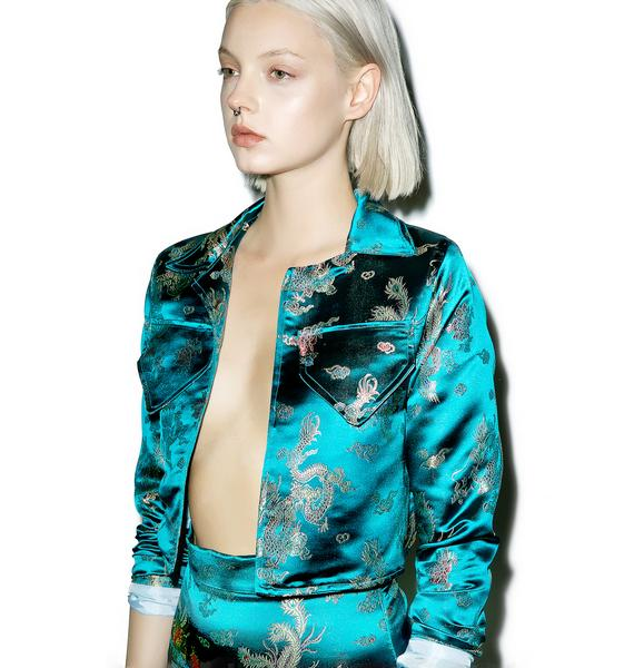 Isolated Heroes Green Embroidered Satin Jacket