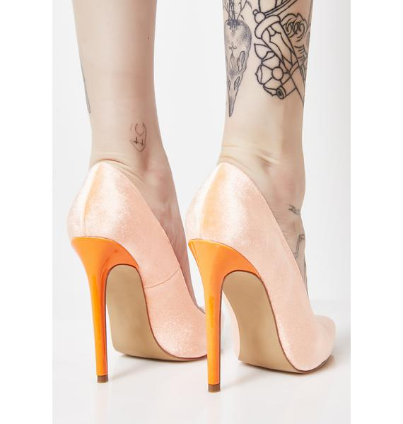 Creamsicle I know You Felt It Velvet Heels