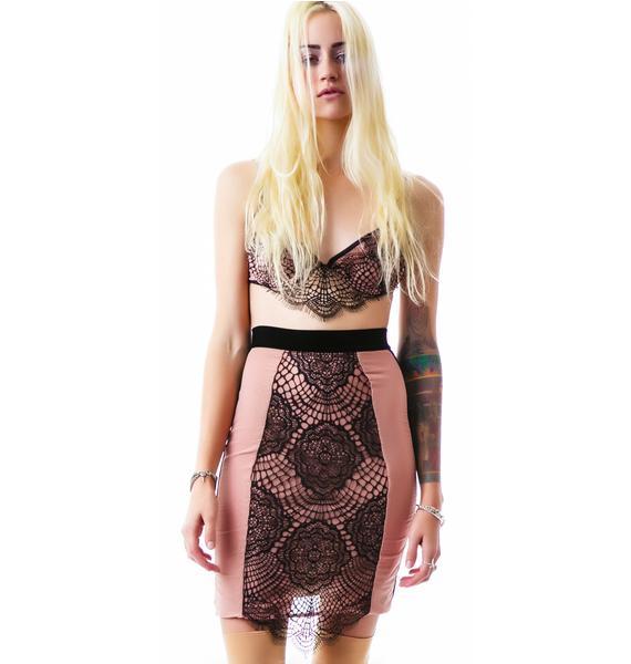 For Love & Lemons Very French Hi Waist Slip Skirt