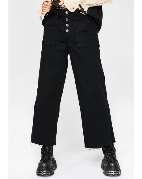 Midnight Nori Utility Cropped Wide Leg Jeans