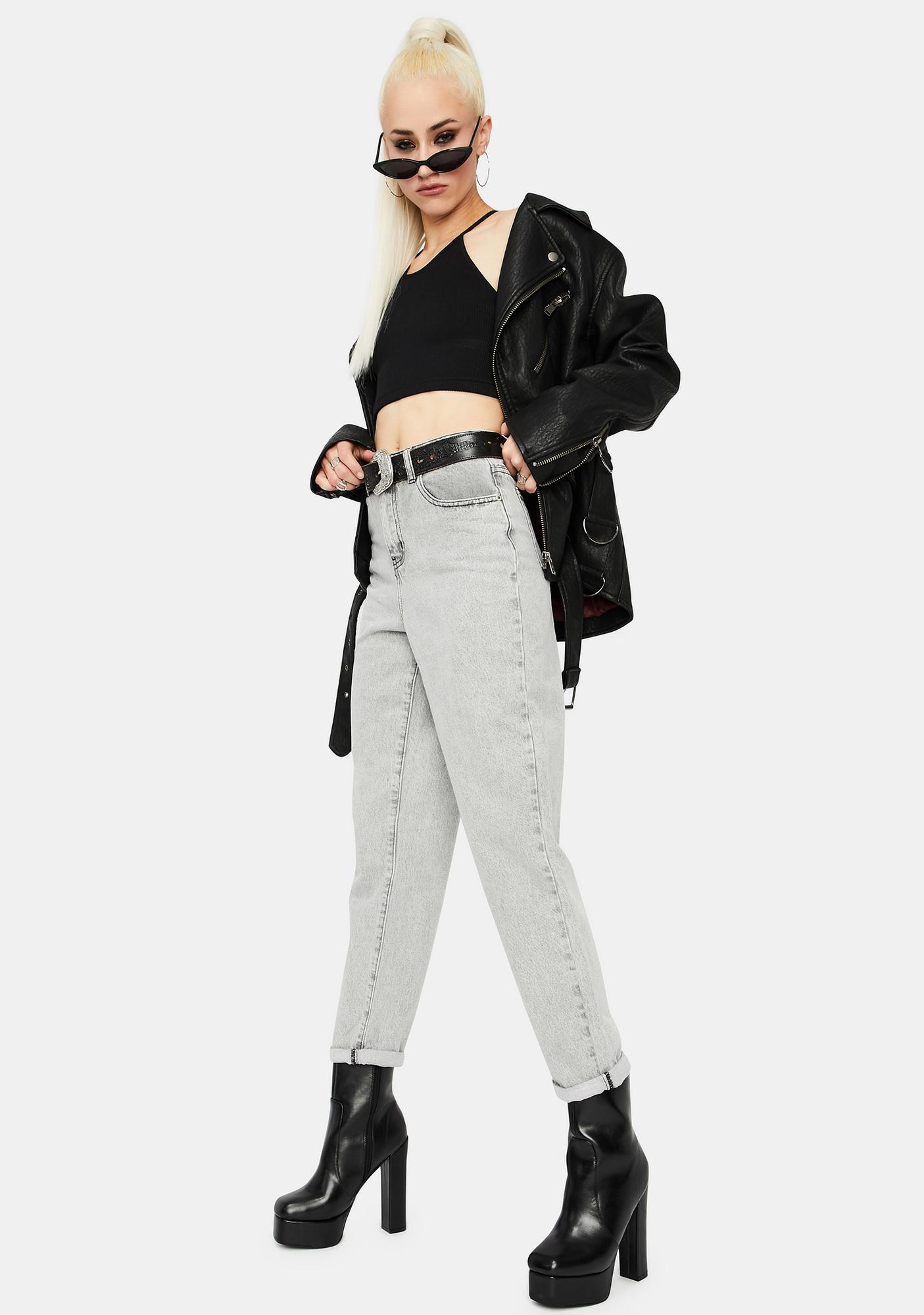 Glamorous Bleached Light Grey High Waist Jeans