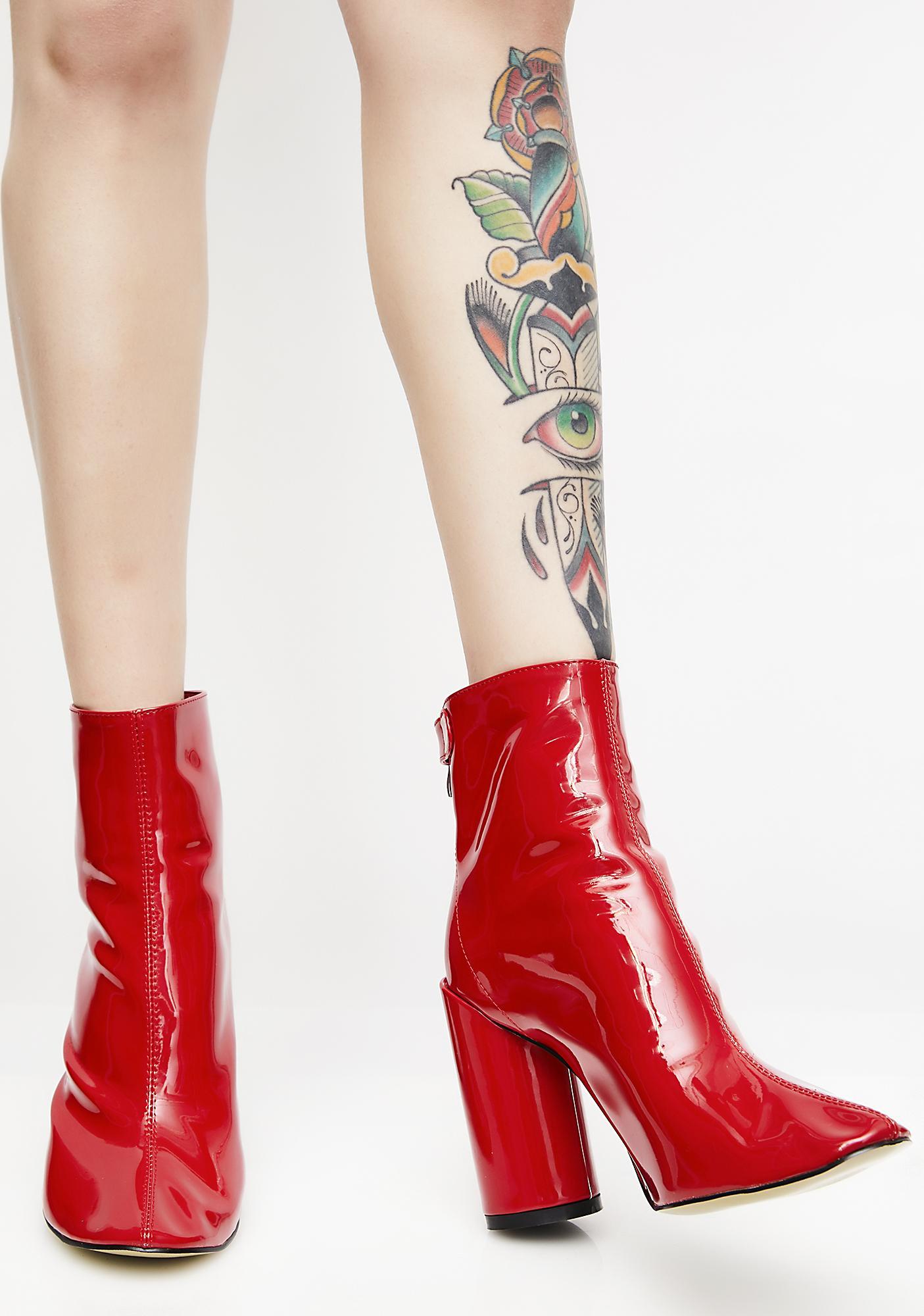 Public Desire Flame Lia Vinyl Stud Strap Boots