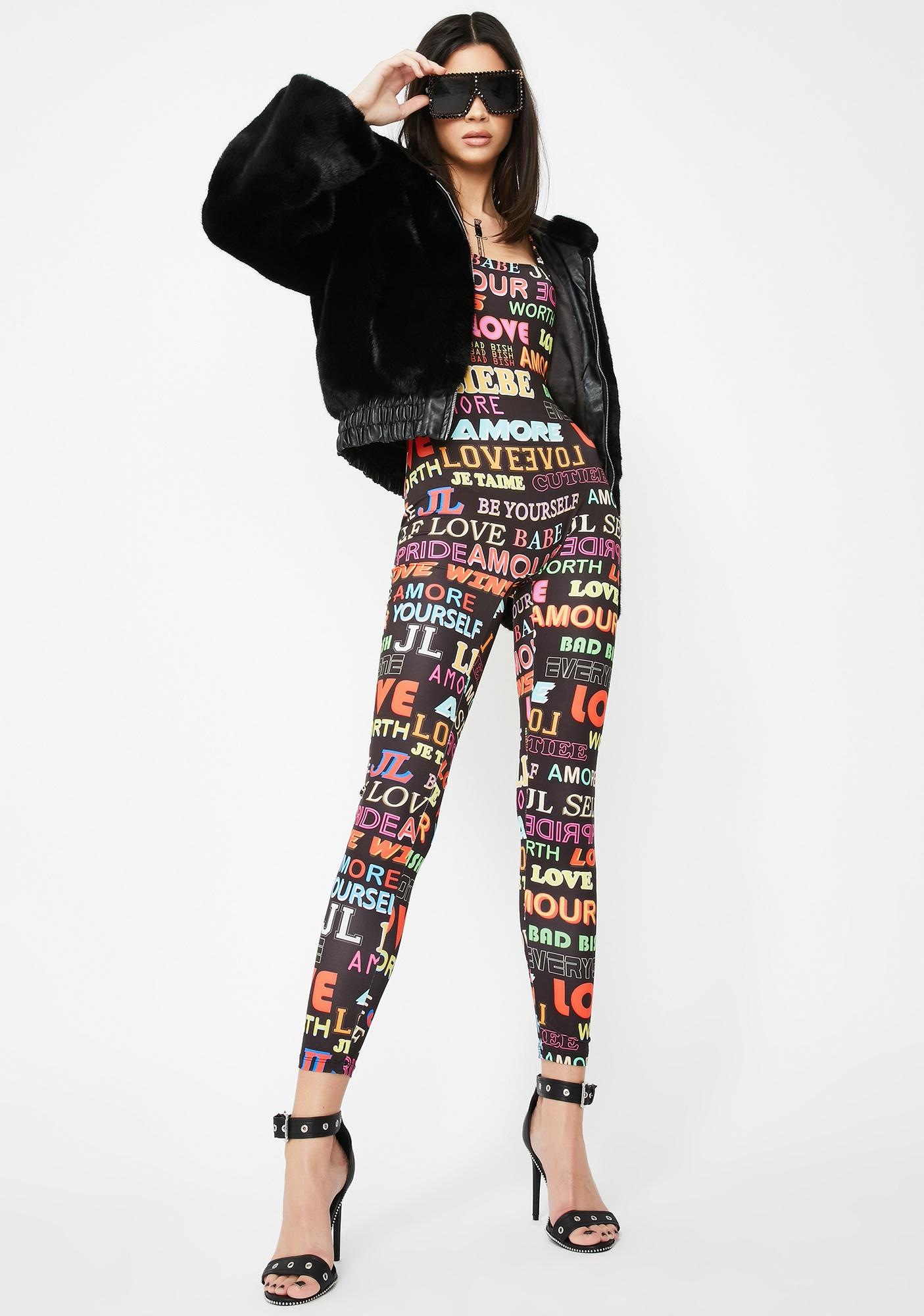 Jaded London Slogan Printed Catsuit