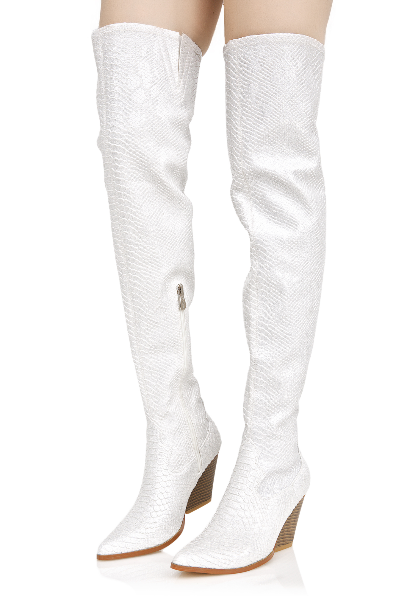 White Snakeskin Thigh High Boots