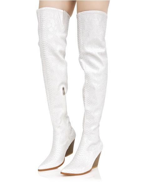 Silver Dusk Till Dawn Thigh-High Boots
