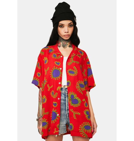 Obey Red Duster Woven Button Up Shirt