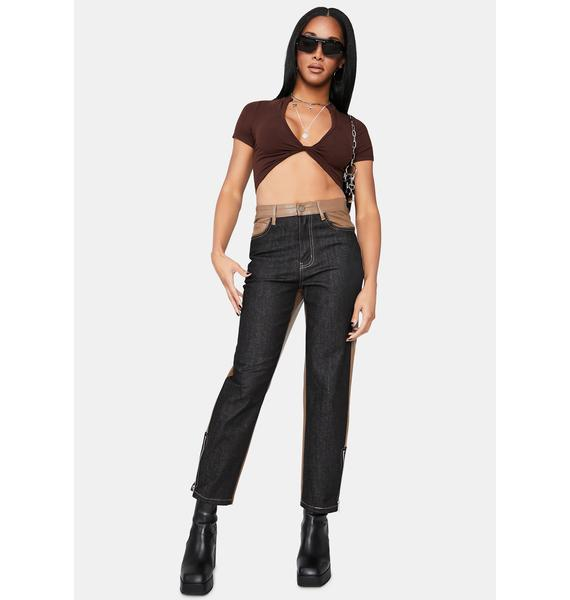 Mocha Lose My Mind Knotted Crop Top