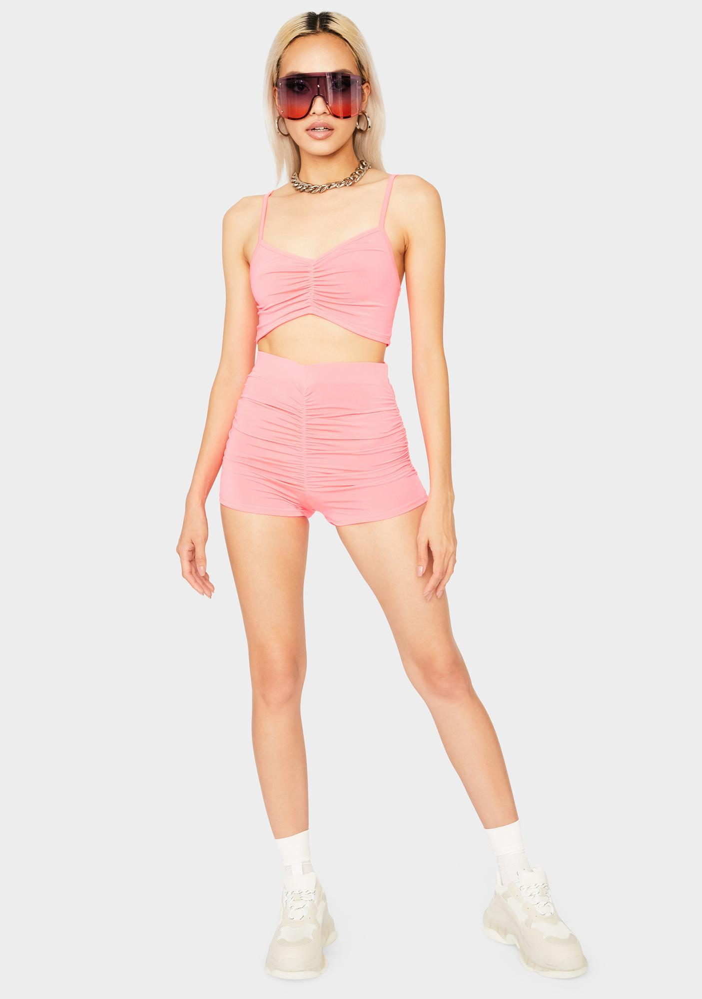 Coral Hold Me Tight Ruched Set