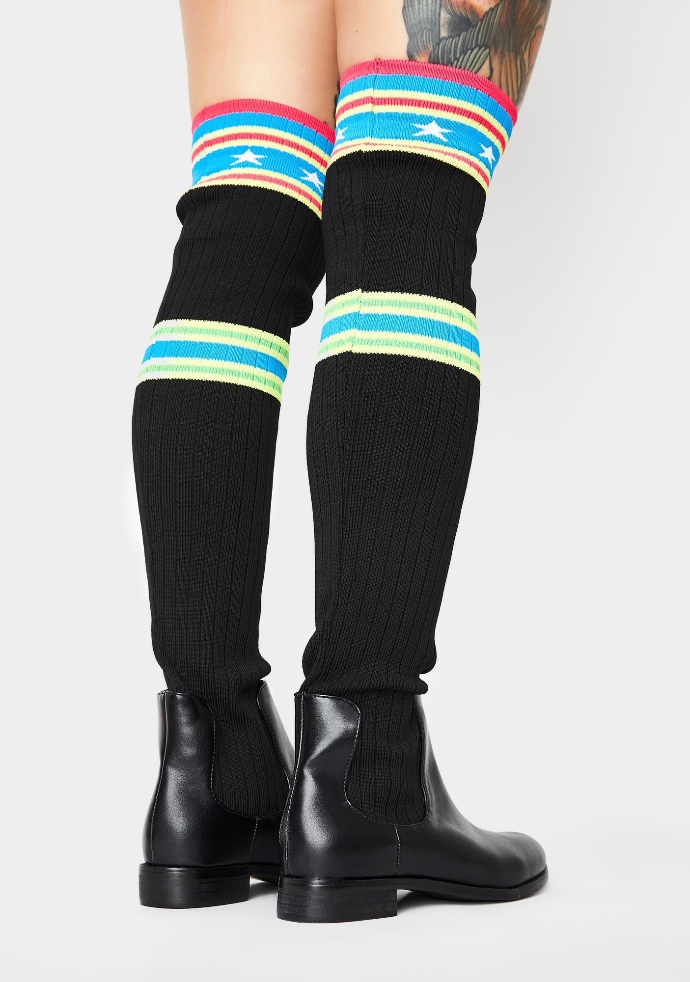 Star Sock Over The Knee Boots Black