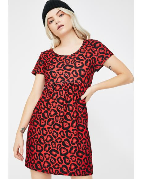 Red Leopard 90s Babydoll Dress