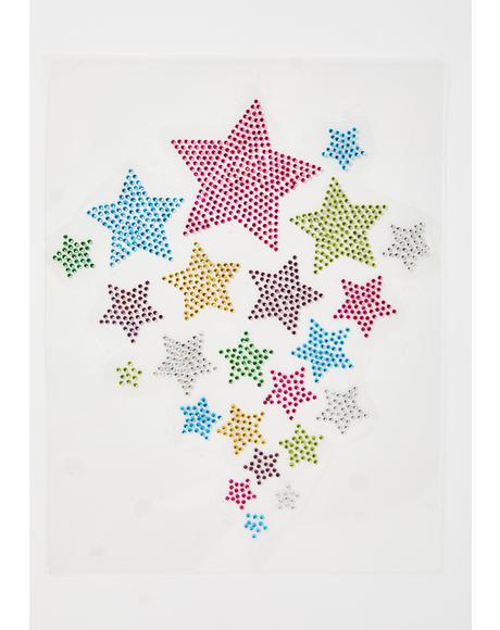 Technicolor Galaxy Iron On Stars