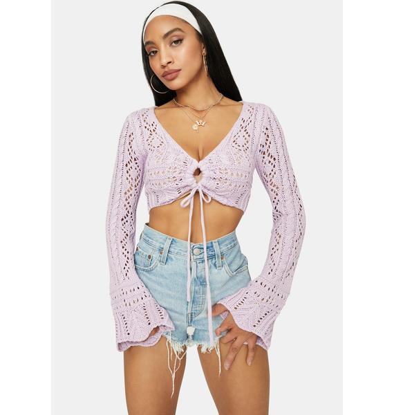 Lavender Coming Soon Loose Crochet Crop Top