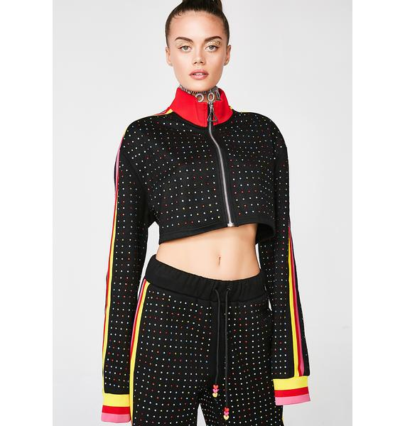 Jaded London Rainbow Diamante Cropped Track Top