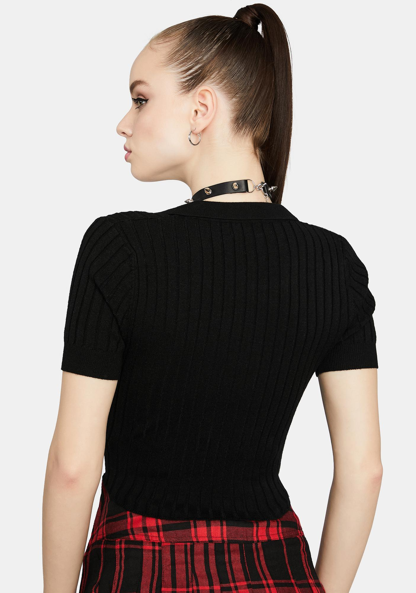 Coming For U Ribbed Collared Crop Top