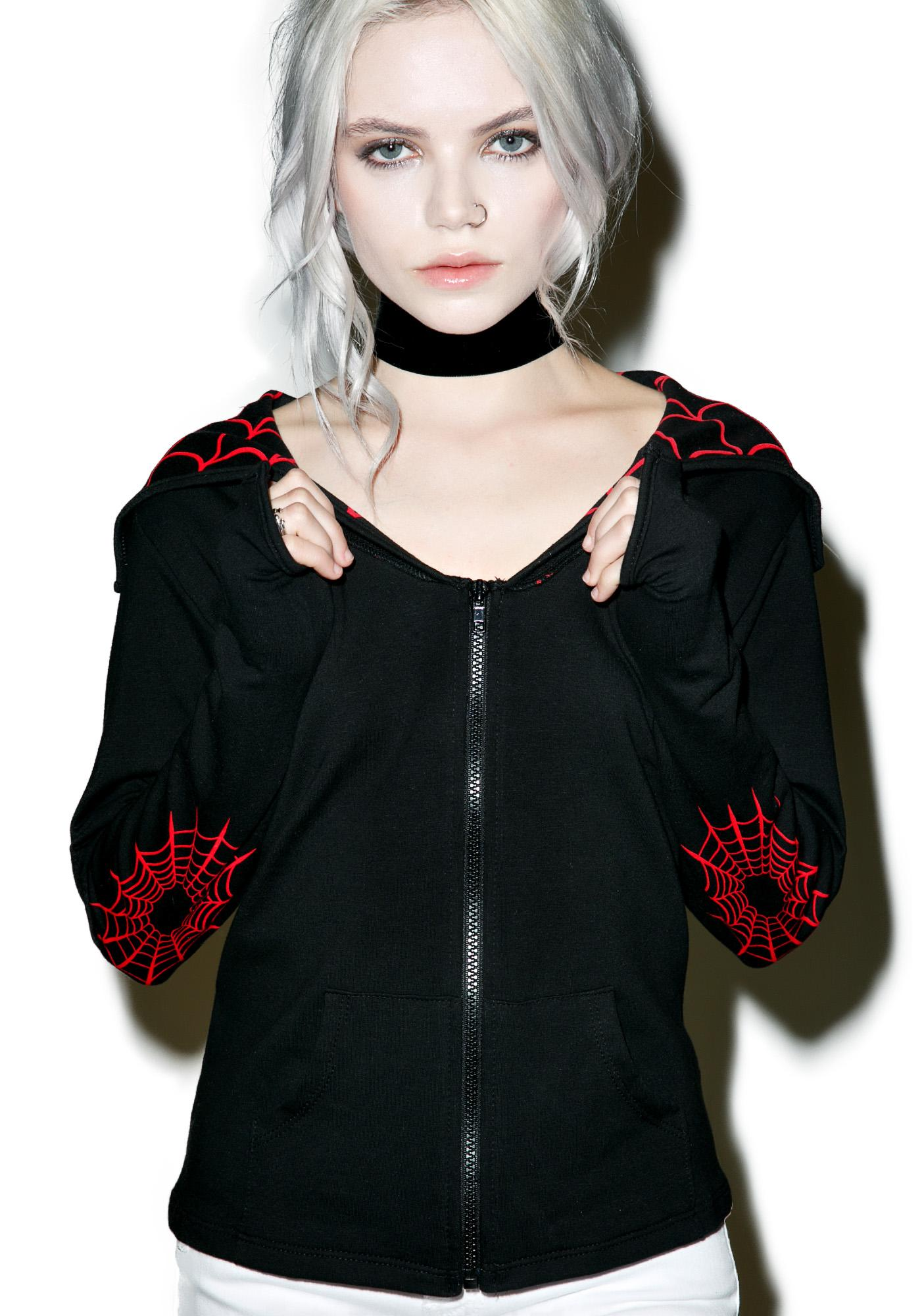 Kreepsville 666 Spiderweb Horror Bat Flap Jacket