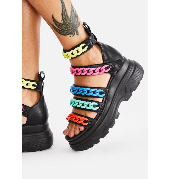 Koi Footwear Rainbow Strident Chain Gladiator Sandals