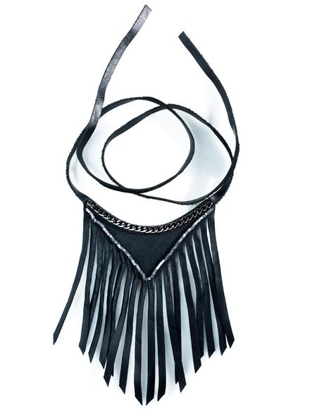 Fringed Leather Choker