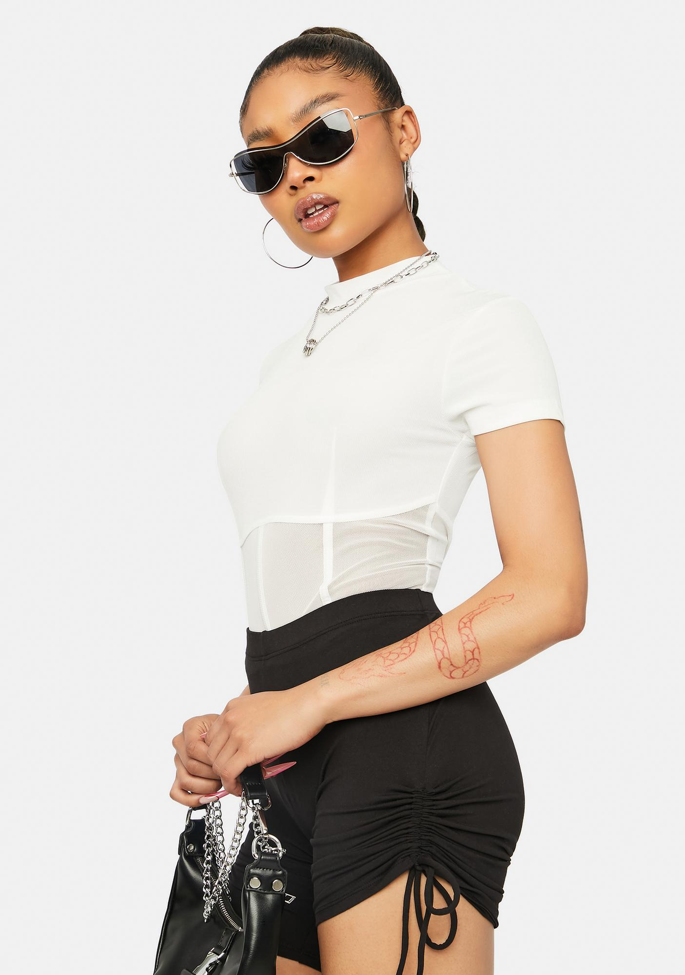Chill By Chance Mesh Mock Neck Top