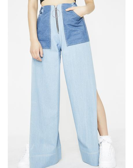 Double Denim Split Trousers