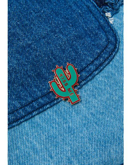 Kiss Me Cactus Enamel Pin
