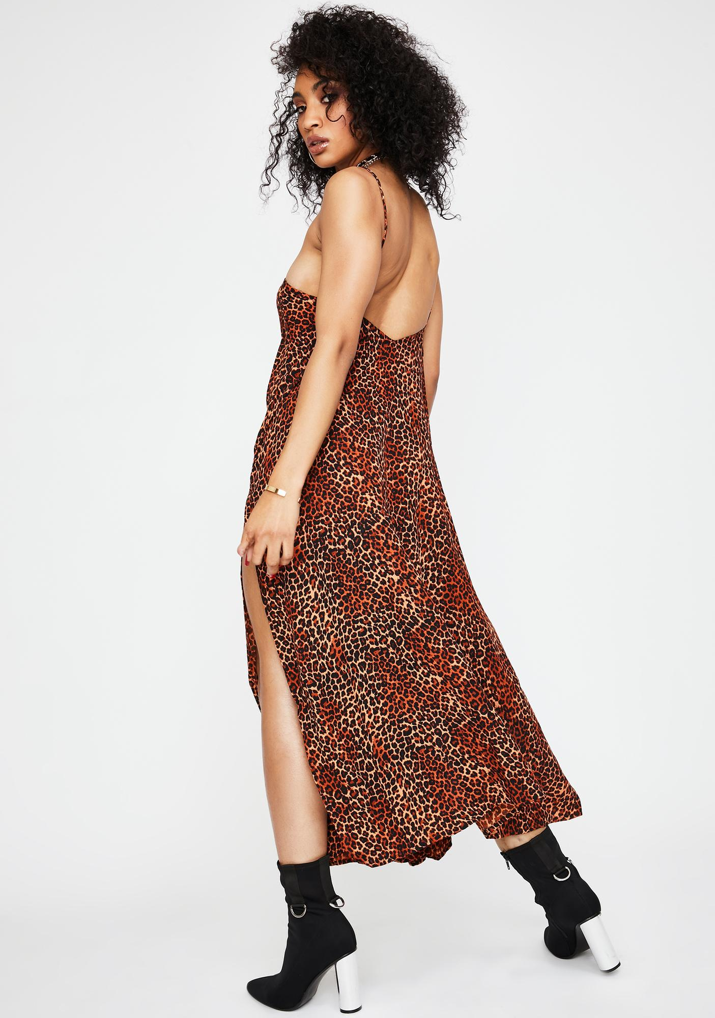 Motel Ditsy Leopard Orange Hime Maxi Dress