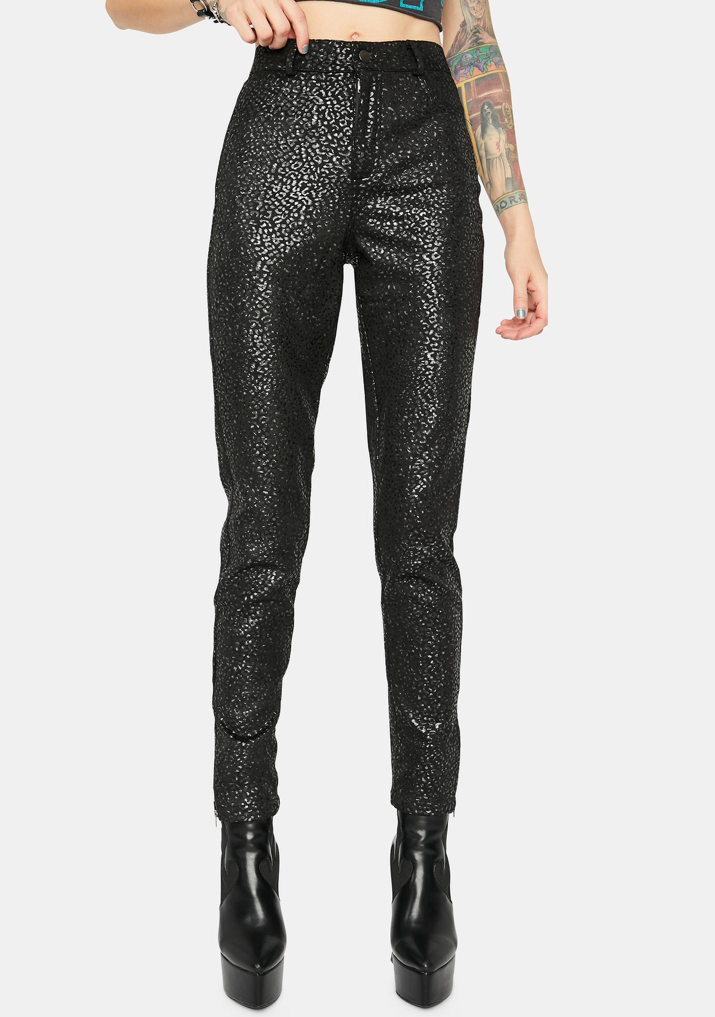 Noir Follow Da Leader Leopard Skinny Pants