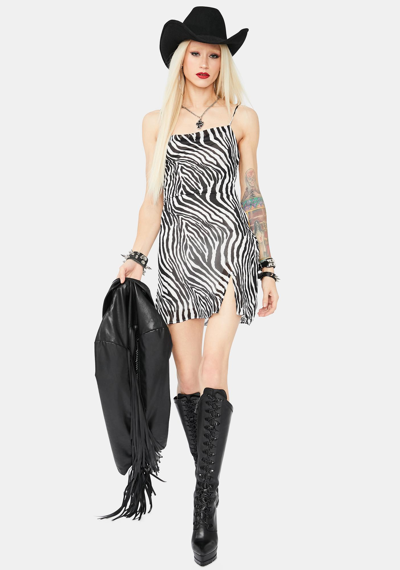 Home Again Zebra Cowl Neck Mini Dress