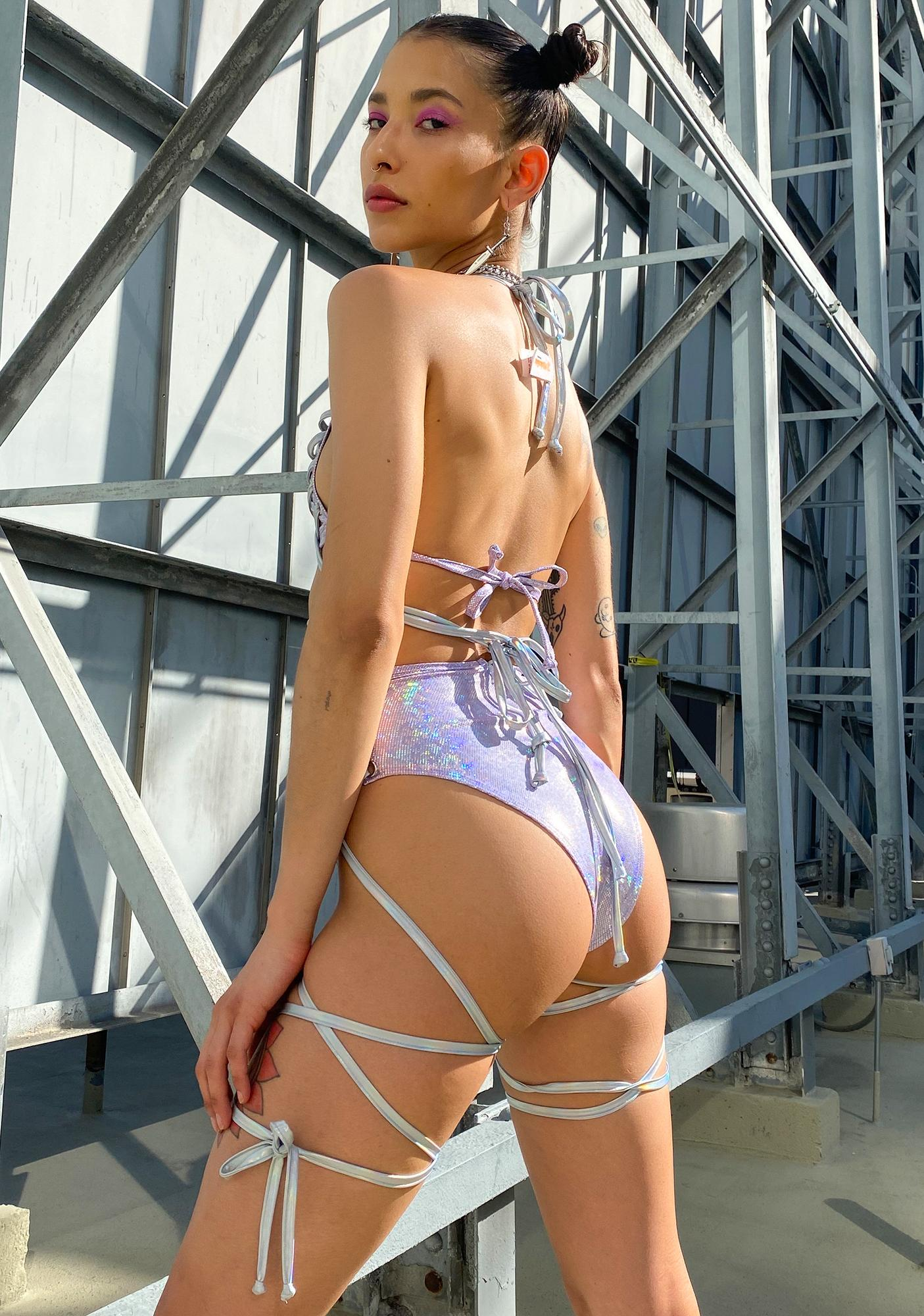 J Valentine Lace Up Metallic Booty Shorts