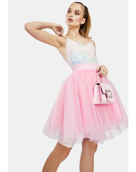 Pink Layered Tulle Mini Skirt