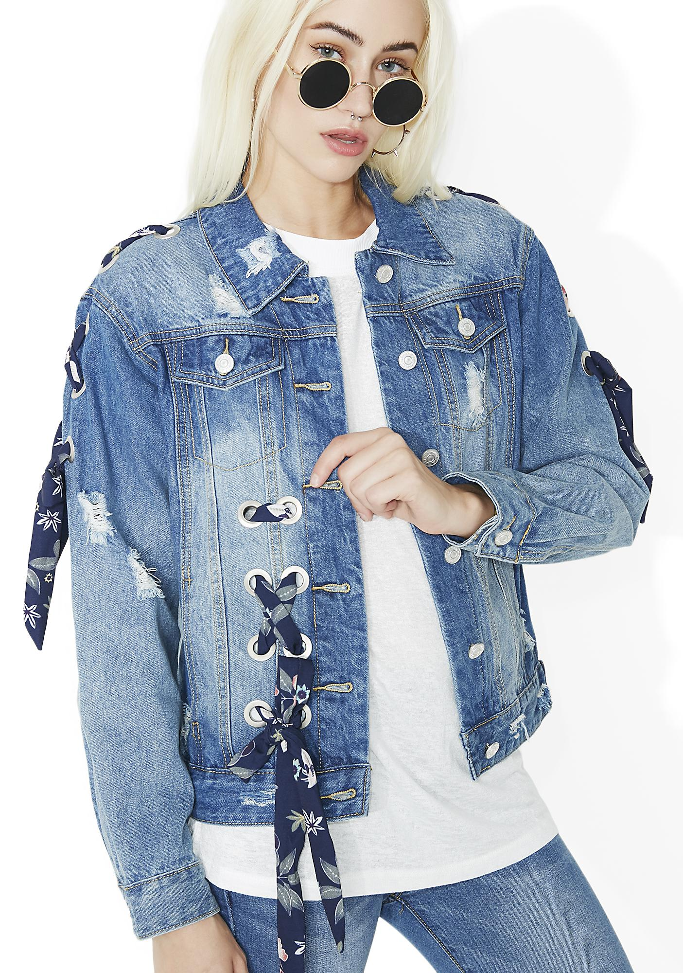 Garden Variety Lace-Up Denim Jacket