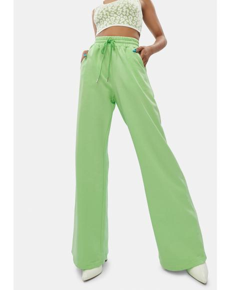 Lime Flashing Lights Wide Leg Lounge Pants
