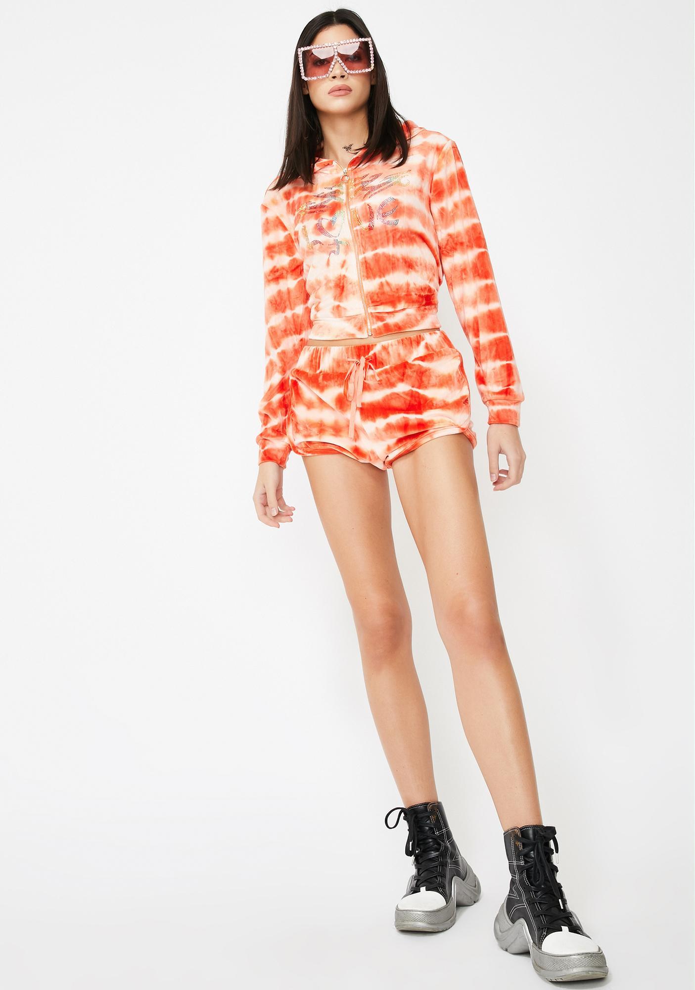 Jaded London Orange Tie Dye Velour Hotpants With Rainbow Rhinestones