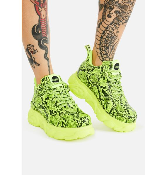 Buffalo Yellow Snakeskin Corin Platform Sneakers