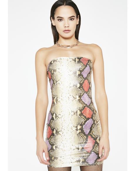 Letz Get Lost Snakeskin Dress