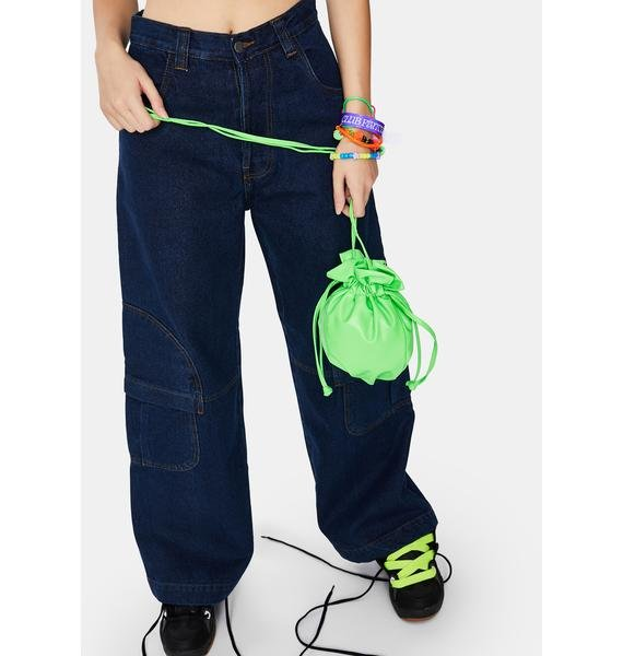 Lime Fun Stuff Pouch Drawstring Bag