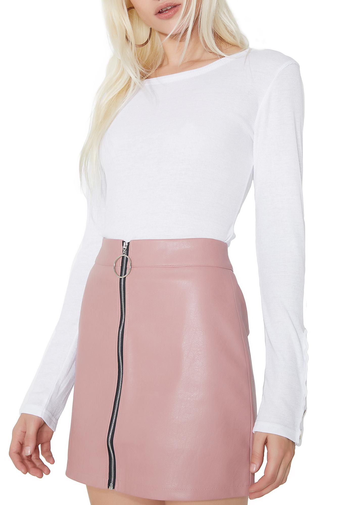 5ad9ee01d059 Pink Vegan Leather Zip-Up Mini Skirt | Dolls Kill