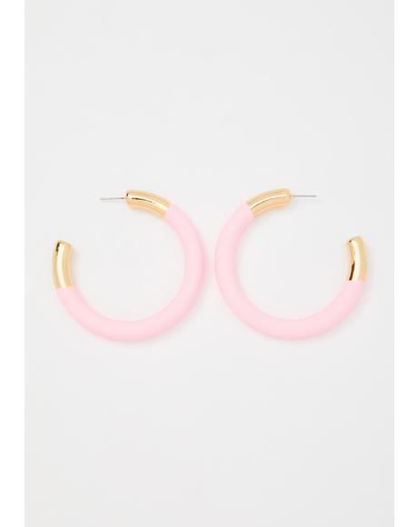Baby Hang In There Hoop Earrings