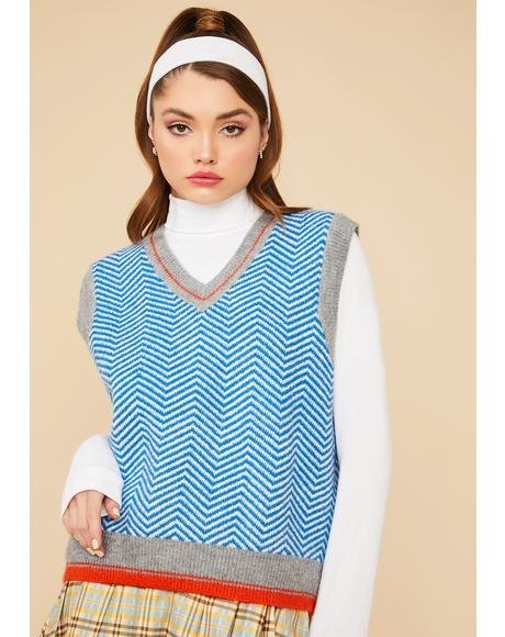 Cool Gallery Gal Herringbone Sweater Vest