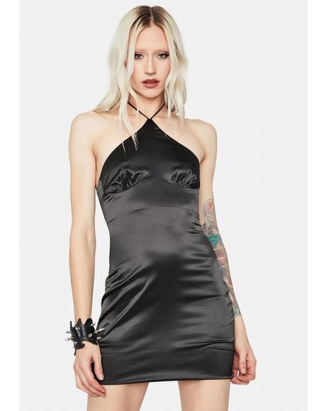 Night Life Satin Halter Bodycon Dress