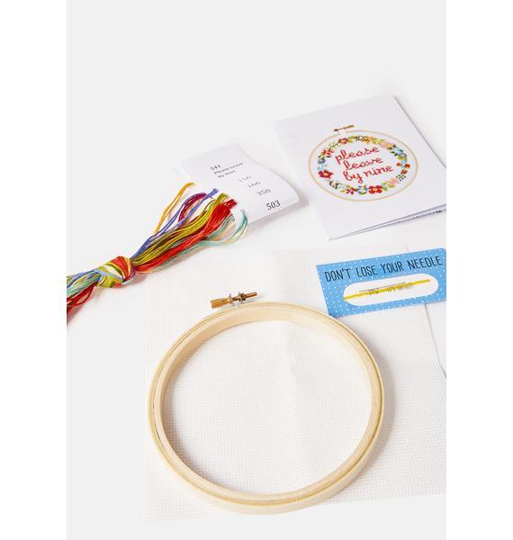 The Stranded Stitch Please Leave by Nine Cross Stitch Kit