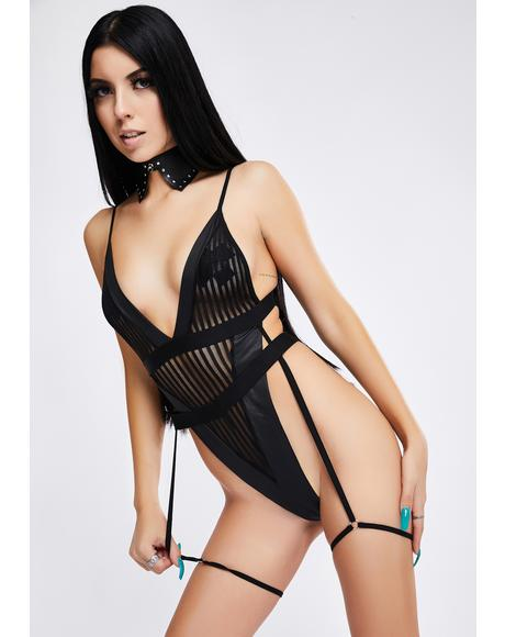 Give It To Me Strappy Pinstripe Mesh Teddy