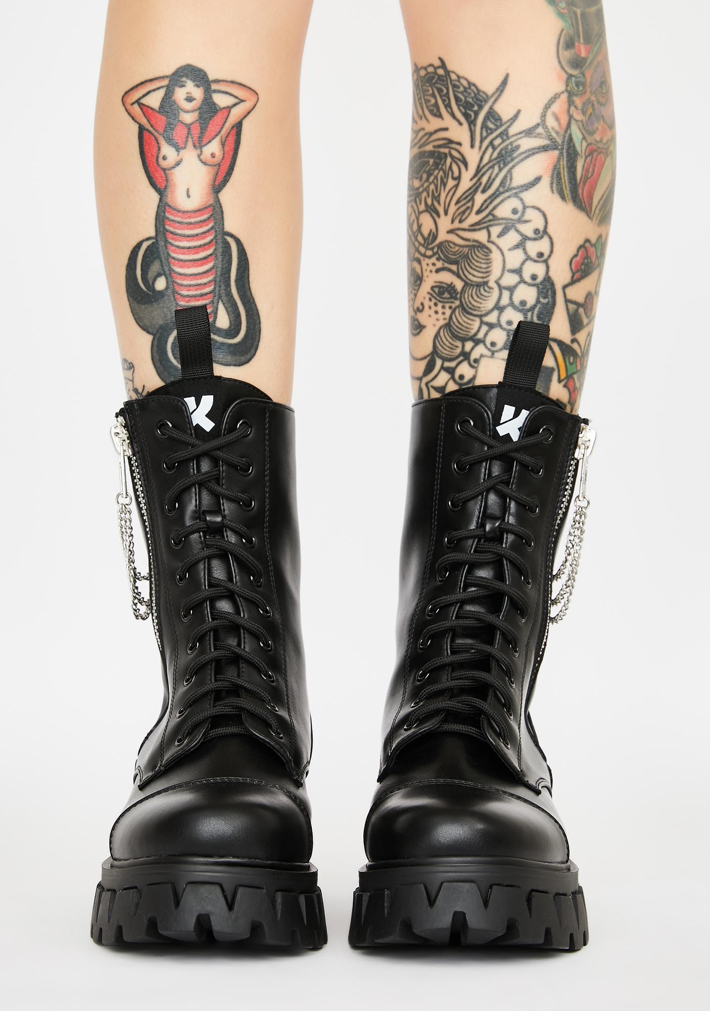 Koi Footwear Mergo Chain Combat Boots