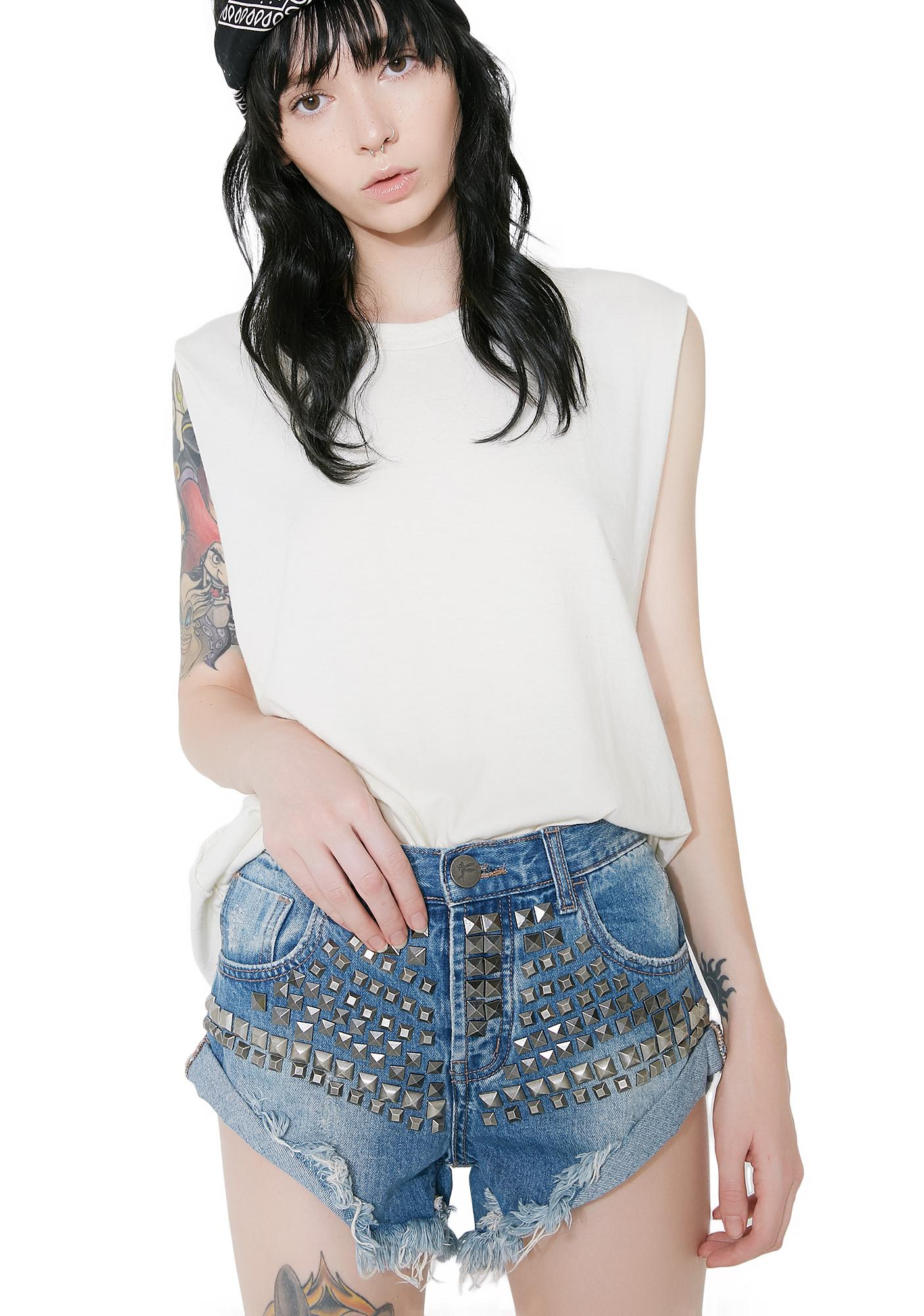 One Teaspoon Limited Edition Studded Bandit Shorts