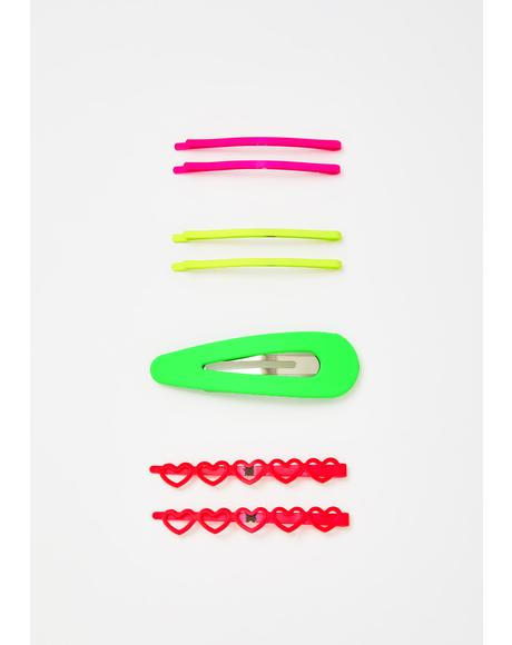 Bright Love Hair Clips Set